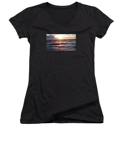 Sunset Waves 1 Women's V-Neck T-Shirt (Junior Cut) by Vicky Tarcau