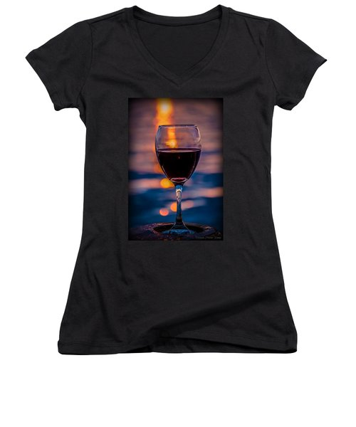 Women's V-Neck T-Shirt featuring the photograph Sunset Wine by Michaela Preston