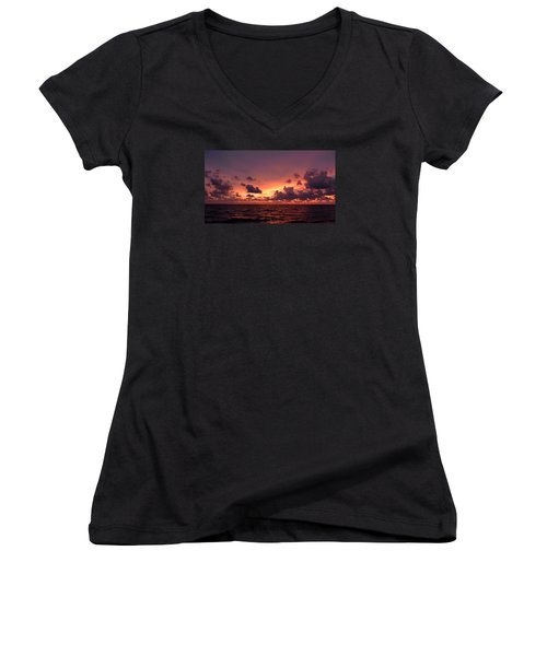 Sunset With Deep Purple Clouds Women's V-Neck T-Shirt