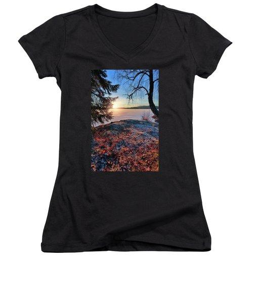 Sunsets Creates Magic Women's V-Neck T-Shirt (Junior Cut) by Rose-Marie Karlsen
