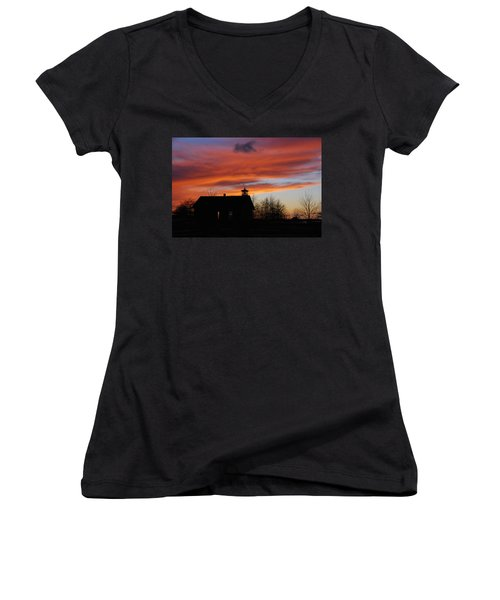 Sunsetting Behind The Historic Schoolhouse. Women's V-Neck (Athletic Fit)