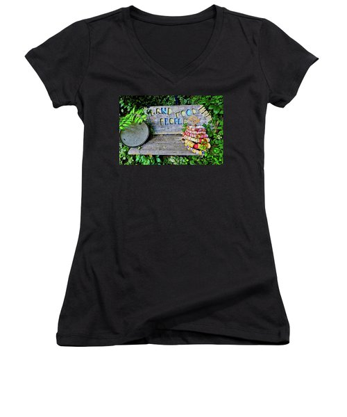 Women's V-Neck T-Shirt featuring the painting Sunshine Bench by Joan Reese