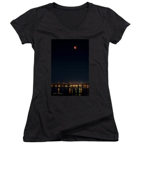 Super Blood Moon Over Ventura, California Pier Women's V-Neck