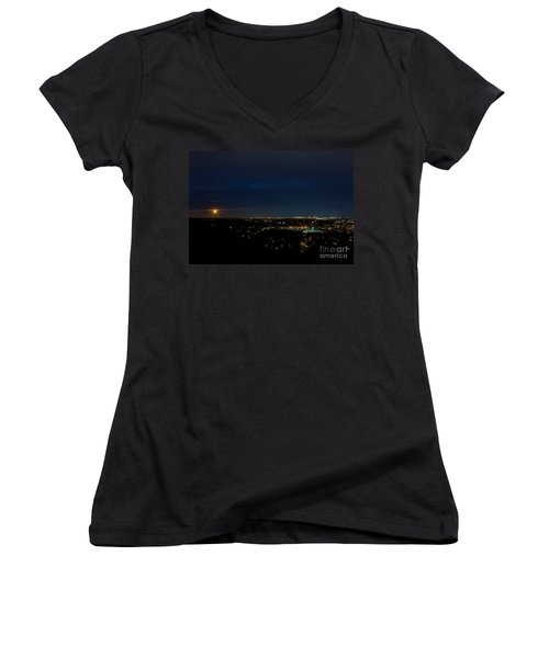 Super Moon 2016 Rises Over Boston Massachusetts Women's V-Neck (Athletic Fit)