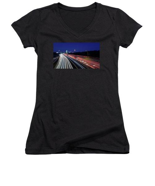 Super Moon And Dallas Texas Skyline Women's V-Neck