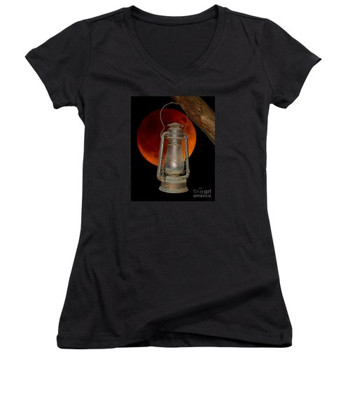 Women's V-Neck T-Shirt (Junior Cut) featuring the photograph Eerie Light Of An Eclipsed Super-moon by Patrick Witz
