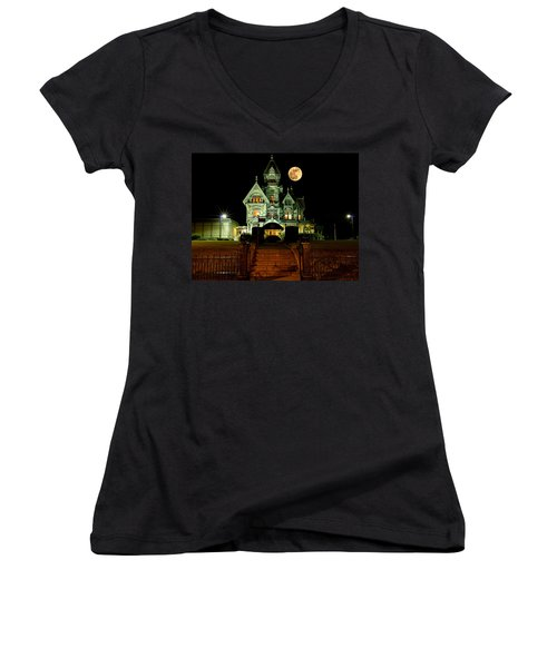 Super Moon Over Carson Mansion Women's V-Neck (Athletic Fit)