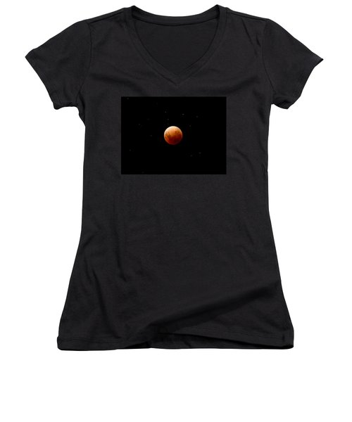 Super Red Blue Moon Eclipse Women's V-Neck (Athletic Fit)
