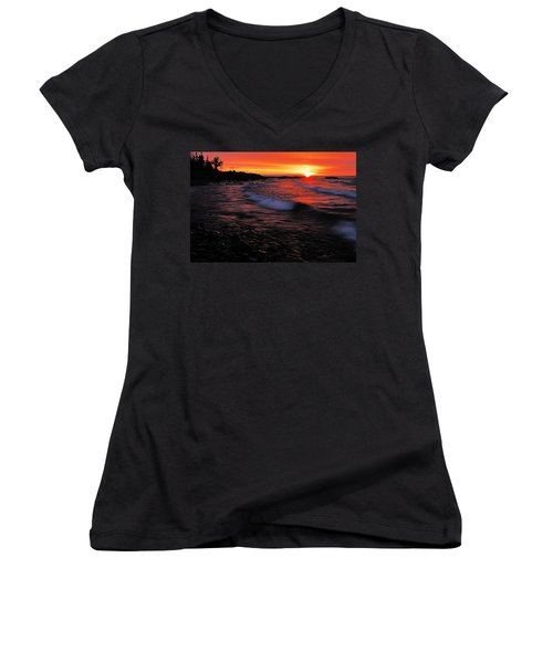 Superior Sunrise 2 Women's V-Neck T-Shirt (Junior Cut) by Larry Ricker