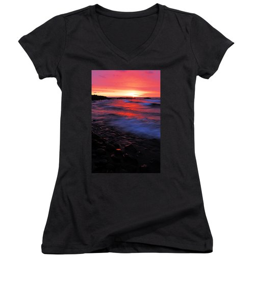 Superior Sunrise Women's V-Neck T-Shirt (Junior Cut) by Larry Ricker