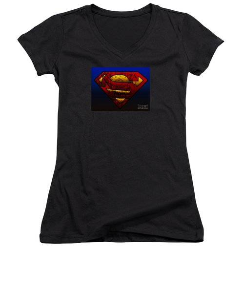 Superman Doomsday Shield  Women's V-Neck T-Shirt (Junior Cut) by Justin Moore
