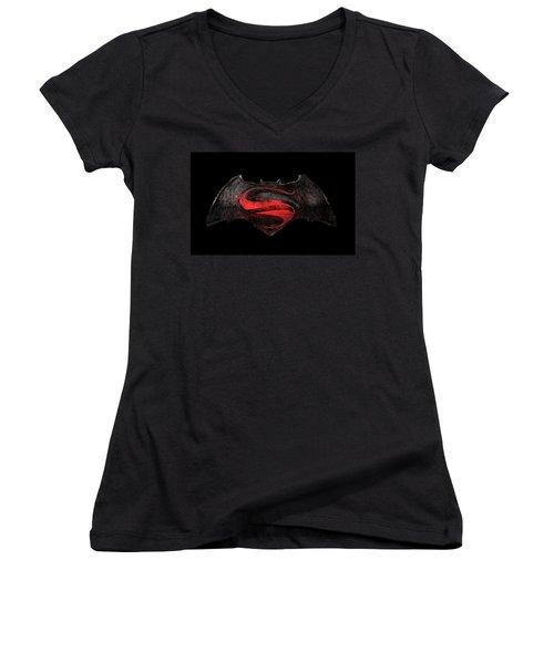 Superman Vs Batman Women's V-Neck (Athletic Fit)