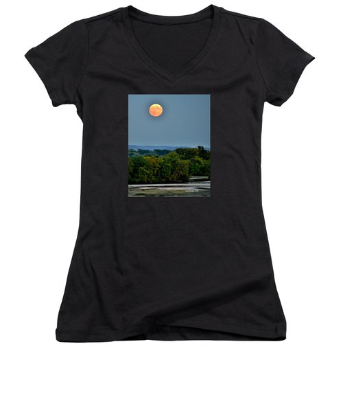 Supermoon On The Mississippi Women's V-Neck (Athletic Fit)