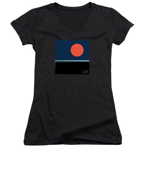 Supermoon Over The Sea Women's V-Neck T-Shirt