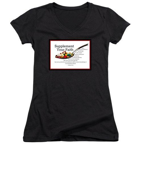 Supplement Your Faith Women's V-Neck T-Shirt