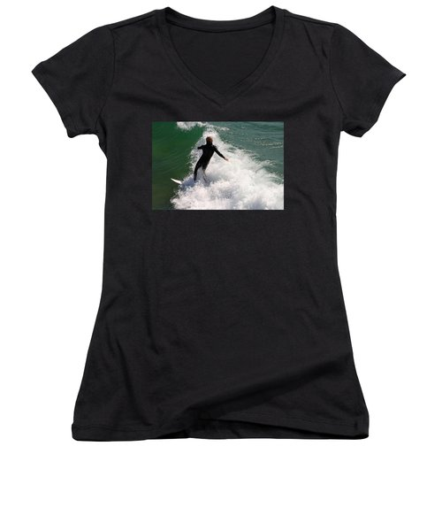 Surfer Catching A Wave Women's V-Neck (Athletic Fit)