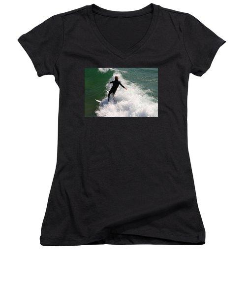 Surfer Catching A Wave Women's V-Neck T-Shirt