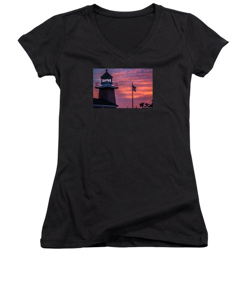 Surfing Museum Full Color  Women's V-Neck T-Shirt (Junior Cut) by Lora Lee Chapman