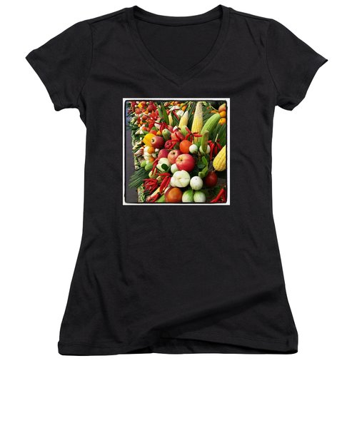 Women's V-Neck featuring the photograph Surin Elephant Buffet by Mr Photojimsf