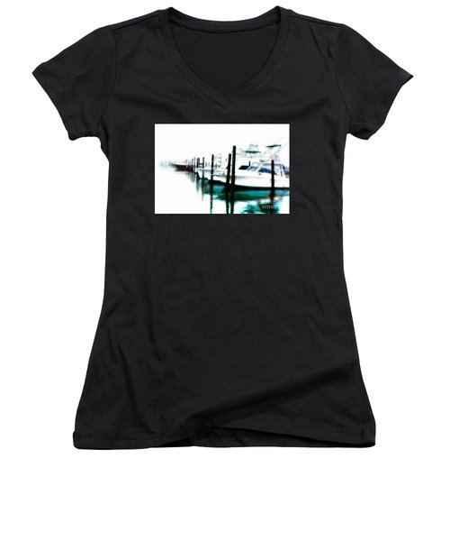 Surreal Fishing Boats In Outer Banks Marina Ap Women's V-Neck T-Shirt (Junior Cut) by Dan Carmichael