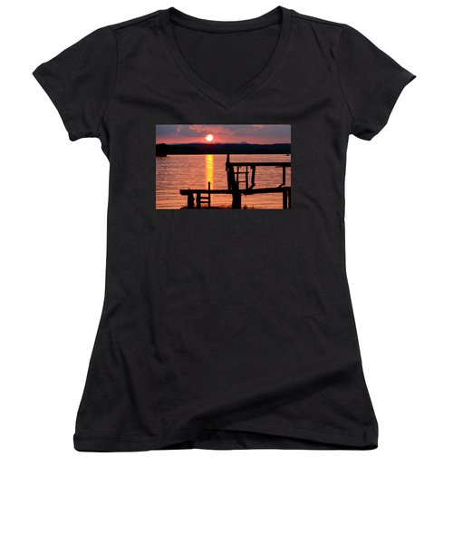 Surreal Smith Mountain Lake Dockside Sunset 2 Women's V-Neck T-Shirt (Junior Cut) by The American Shutterbug Society