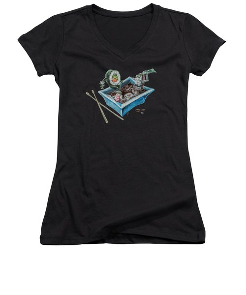 Women's V-Neck featuring the painting Sushi Party by Jennifer Hotai