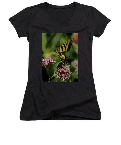 Swallowtail Liftoff Dp Women's V-Neck T-Shirt (Junior Cut) by Ernie Echols