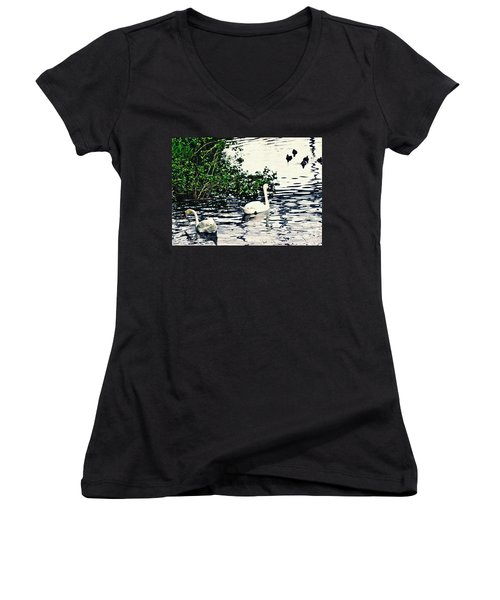 Women's V-Neck T-Shirt (Junior Cut) featuring the photograph Swan Family On The Rhine 2 by Sarah Loft