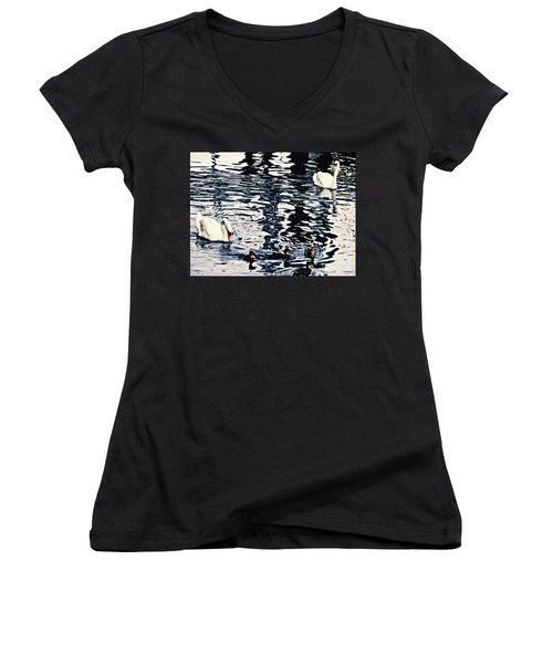 Women's V-Neck T-Shirt (Junior Cut) featuring the photograph Swan Family On The Rhine by Sarah Loft
