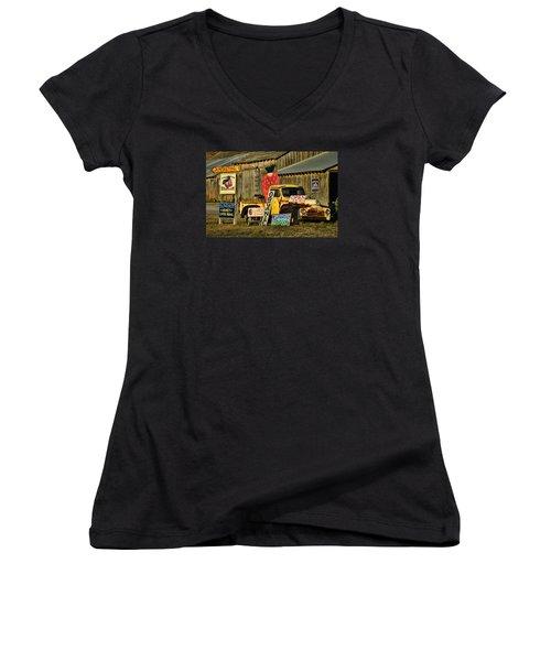 Women's V-Neck T-Shirt (Junior Cut) featuring the photograph Swanton Berry Farm / International Pickup by Steve Siri