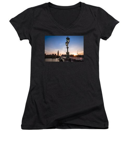 Swapping Lights Women's V-Neck T-Shirt (Junior Cut) by Giuseppe Torre