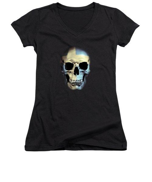 Women's V-Neck T-Shirt (Junior Cut) featuring the digital art Swedish Skull by Nicklas Gustafsson