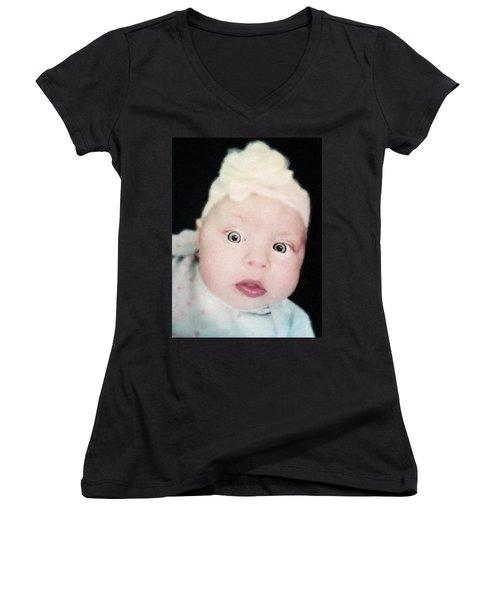 Sweet Baby Girl Portrait Women's V-Neck