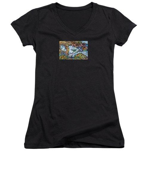 Sweet Dreams Women's V-Neck T-Shirt (Junior Cut) by Claudia Cole Meek