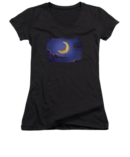 Women's V-Neck featuring the drawing Sweet Dreams by Julia Art
