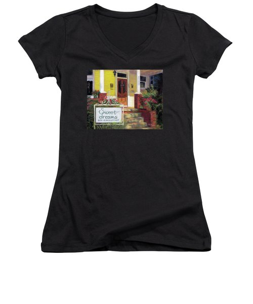 Women's V-Neck T-Shirt (Junior Cut) featuring the painting Sweet Dreams by Julie Maas
