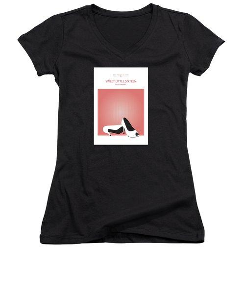 Sweet Little Sixteen -- Chuck Berry Women's V-Neck T-Shirt (Junior Cut) by David Davies