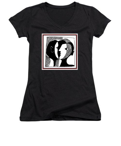 Women's V-Neck T-Shirt featuring the digital art Sweet Nothings by Vagabond Folk Art - Virginia Vivier