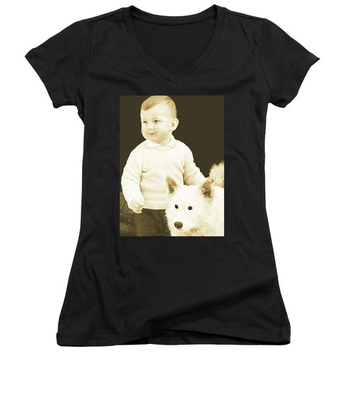 Women's V-Neck T-Shirt (Junior Cut) featuring the painting Sweet Vintage Toddler With His White Mutt by Marian Cates