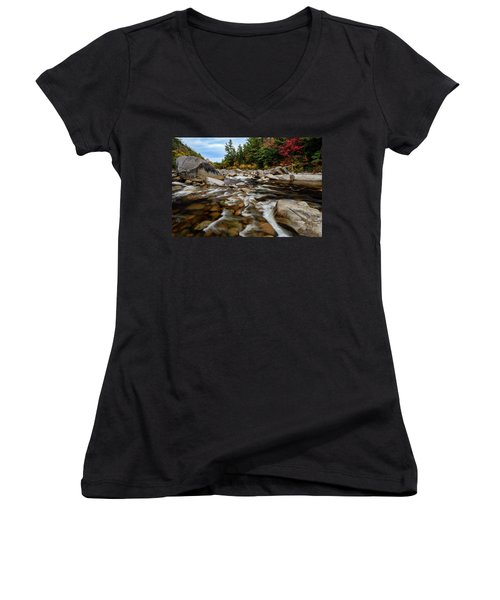 Women's V-Neck featuring the photograph Swift River Autumn Nh by Michael Hubley