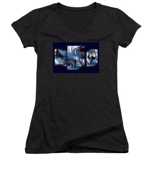 Women's V-Neck T-Shirt (Junior Cut) featuring the photograph Swirl by Steve Karol