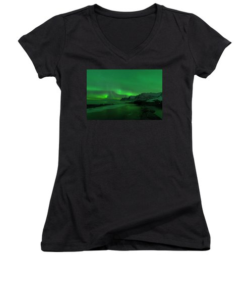 Women's V-Neck featuring the photograph Swirling Skies And Seas by Alex Lapidus