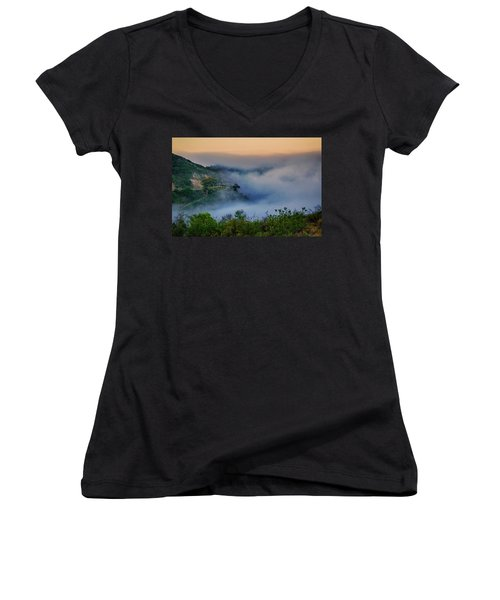 Women's V-Neck T-Shirt (Junior Cut) featuring the photograph Switchbacks In The Clouds by Joseph Hollingsworth