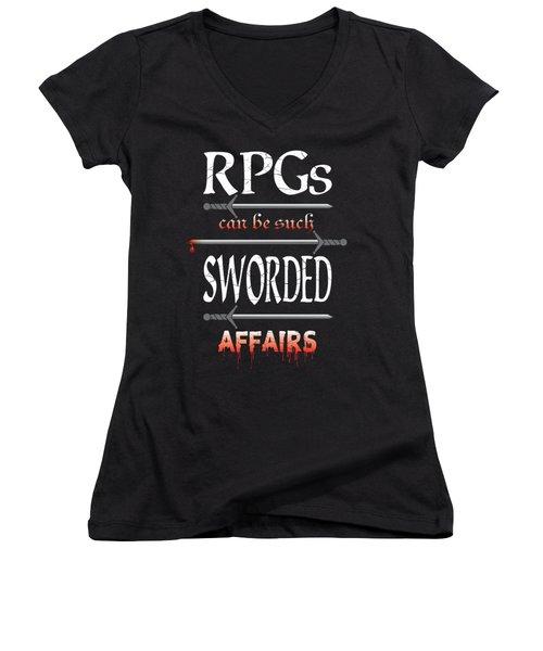 Sworded Affairs Women's V-Neck (Athletic Fit)