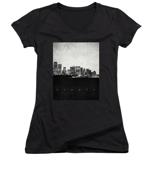Sydney City Skyline With Opera House Women's V-Neck T-Shirt (Junior Cut) by World Art Prints And Designs