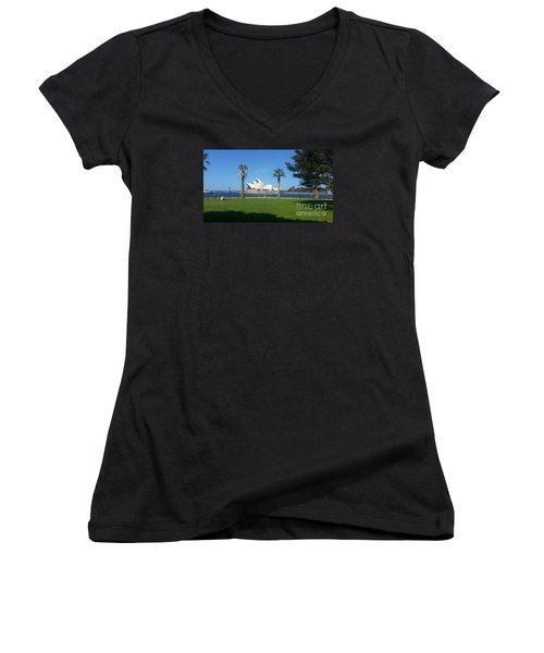 Women's V-Neck T-Shirt (Junior Cut) featuring the photograph Sydney Opera House  by Bev Conover