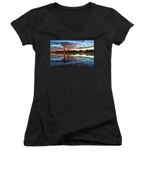 Symetry On The River Women's V-Neck