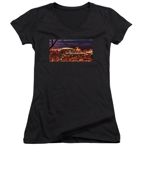 Syracuse Dome At Night Women's V-Neck T-Shirt