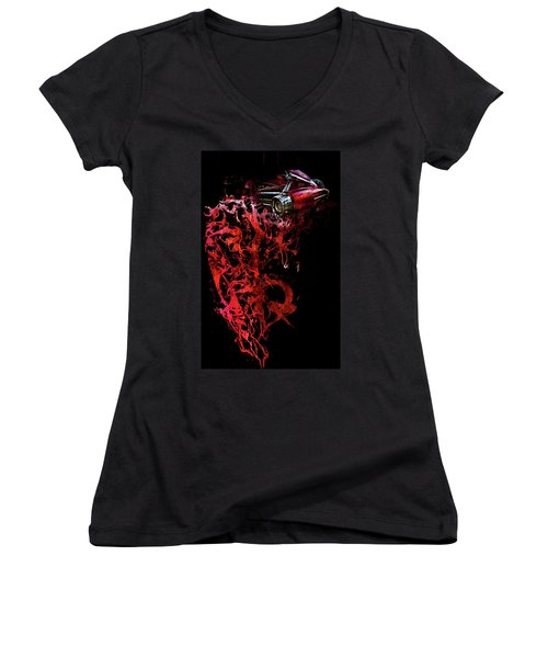 T Shirt Deconstruct Red Cadillac Women's V-Neck