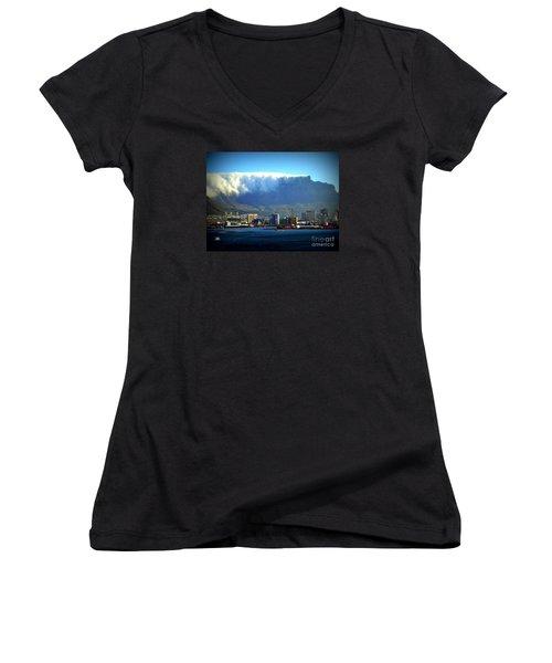 Table Rock With Cloud Women's V-Neck T-Shirt (Junior Cut) by John Potts
